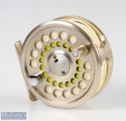 G Loomis Venture 7 fly reel in champagne finish, smooth rear adjuster, loaded with line, with