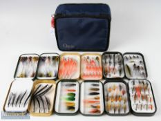 Salmon Flies and Wheatley Fly Boxes – 6 fly boxes containing mixed salmon flies, incl doubles and