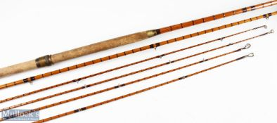 Hardy Bros 'The Pennell' split cane salmon rod 14ft 3pc, 2 original tops short 36ins/29ins, plus 2