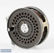 """Orvis CFO IV (Hardy) 3 ¼"""" fly reel with perforated allot foot, loaded with line, reversible line"""