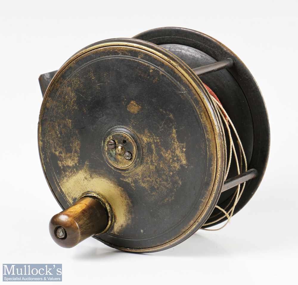 """Patent C. Farlow & Co Maker 191 Strand London 4"""" all brass fly reel with makers details to rear"""
