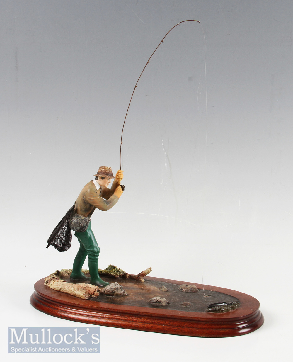 """Border Fine Arts """"Nearly There"""" Trout Fisherman model No B0254 by Ray Ayres, limited edition"""