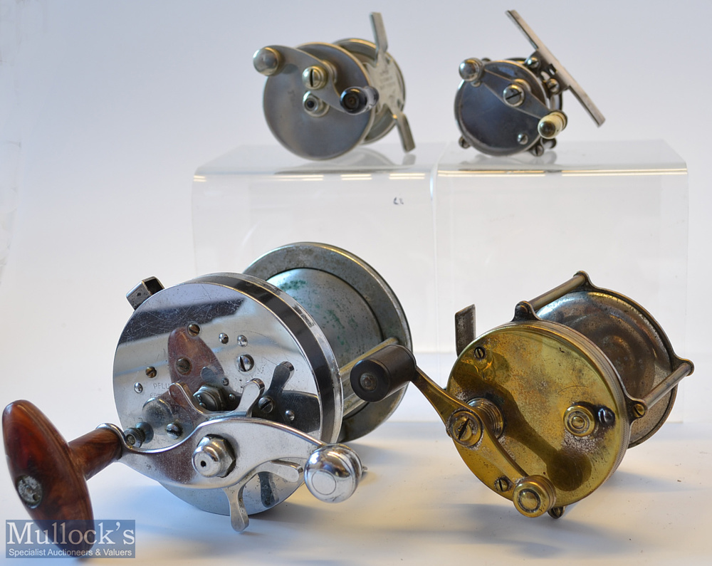 Collection of Various American Multiplying Reels from brook to sea fishing (4) – Pflueger Capitol