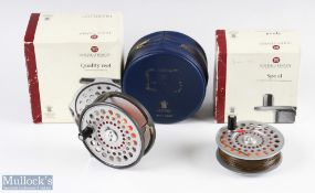 """Hardy Bros England St Aidan 3 ¾"""" alloy fly reel and spare spool with smooth alloy foot, u shape line"""