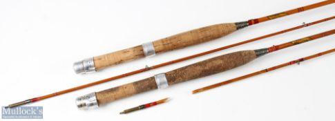 2x Allcock's 'Little Gem' split cane fly rods 7ft 2pc – one needing repair, cloth bag. (2)