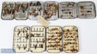 5 Alloy Fly Cases and Mixed Fly Selection 4 cases in base alloy metal with another black Japanned