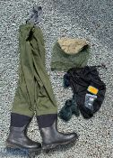 Greys Fishing Waders size 10 with elastic braces, with a group of wader studs and a small