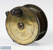 """Jones Maker London 4"""" all brass fly reel with constant check, maker's details inscribed to front"""