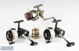 ABU Cardinal 77 fixed spool reels one foot stamped 097006, one foot indecipherable on/off checks,