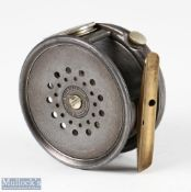 """Hardy Bros England 3 ½"""" wide drum Perfect Dup MkII alloy fly reel with nickel silver line guide,"""