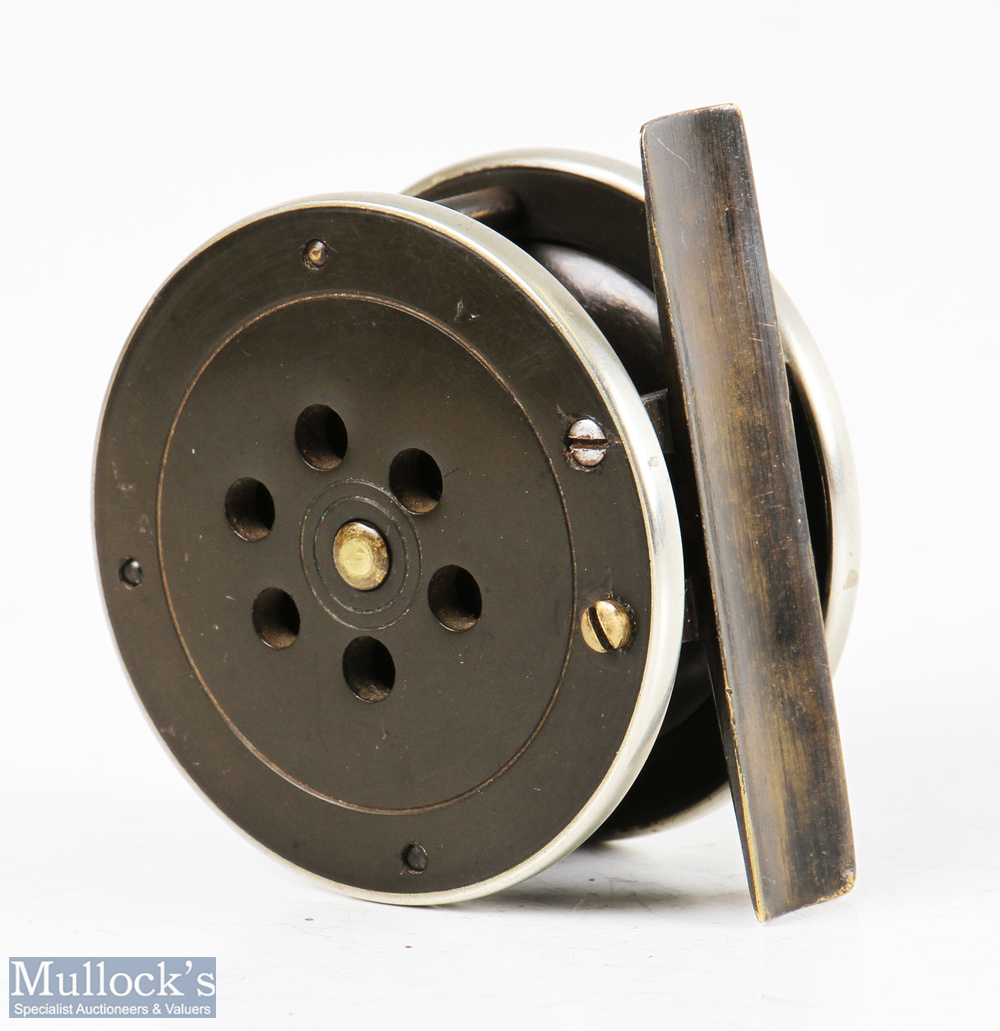 """Prickman of Exeter brass and ebonite 2 3/8"""" trout fly reel with horn handle, German nickel silver - Image 2 of 2"""