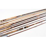 Assorted selection of fishing rods incl' Edgar Sealey 9ft fly rod 2pc, red agate lined butt/tip