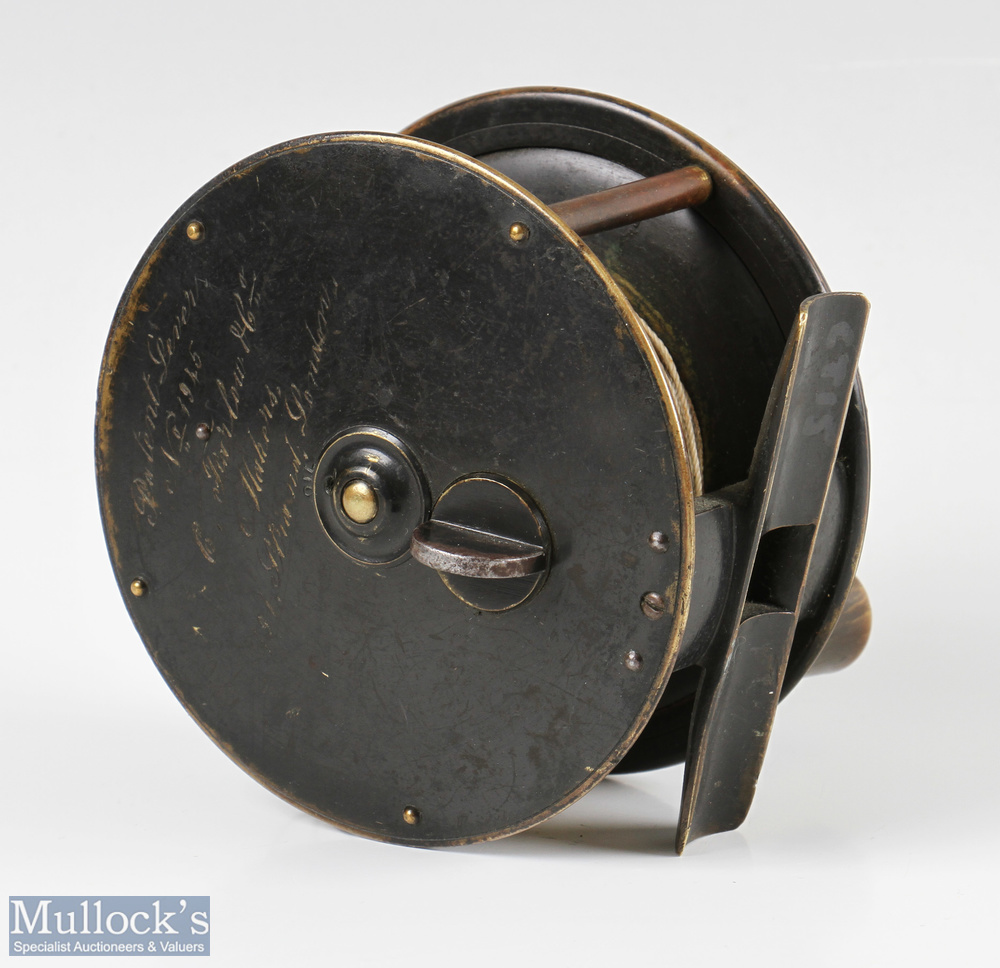 """Patent C. Farlow & Co Maker 191 Strand London 4"""" all brass fly reel with makers details to rear - Image 2 of 2"""