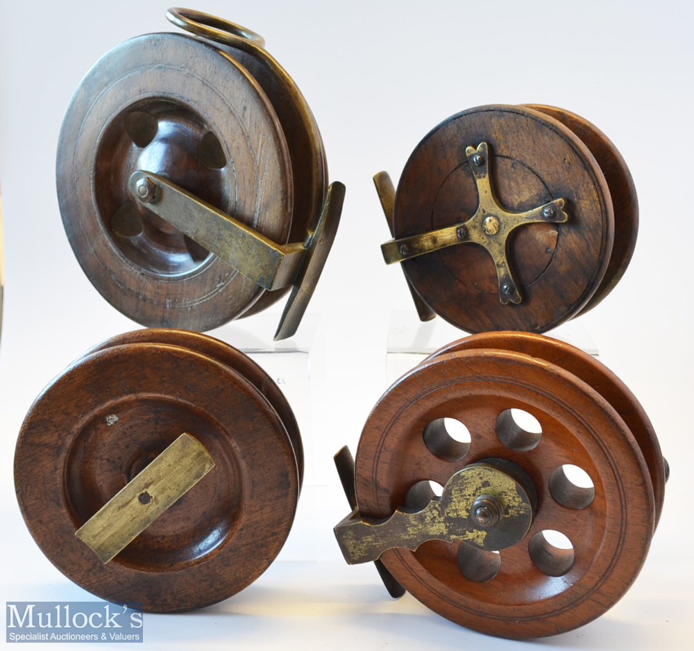 """Collection of Scarborough and other Wooden and brass reels (4) unnamed modified 6"""" Scarborough - Image 2 of 2"""