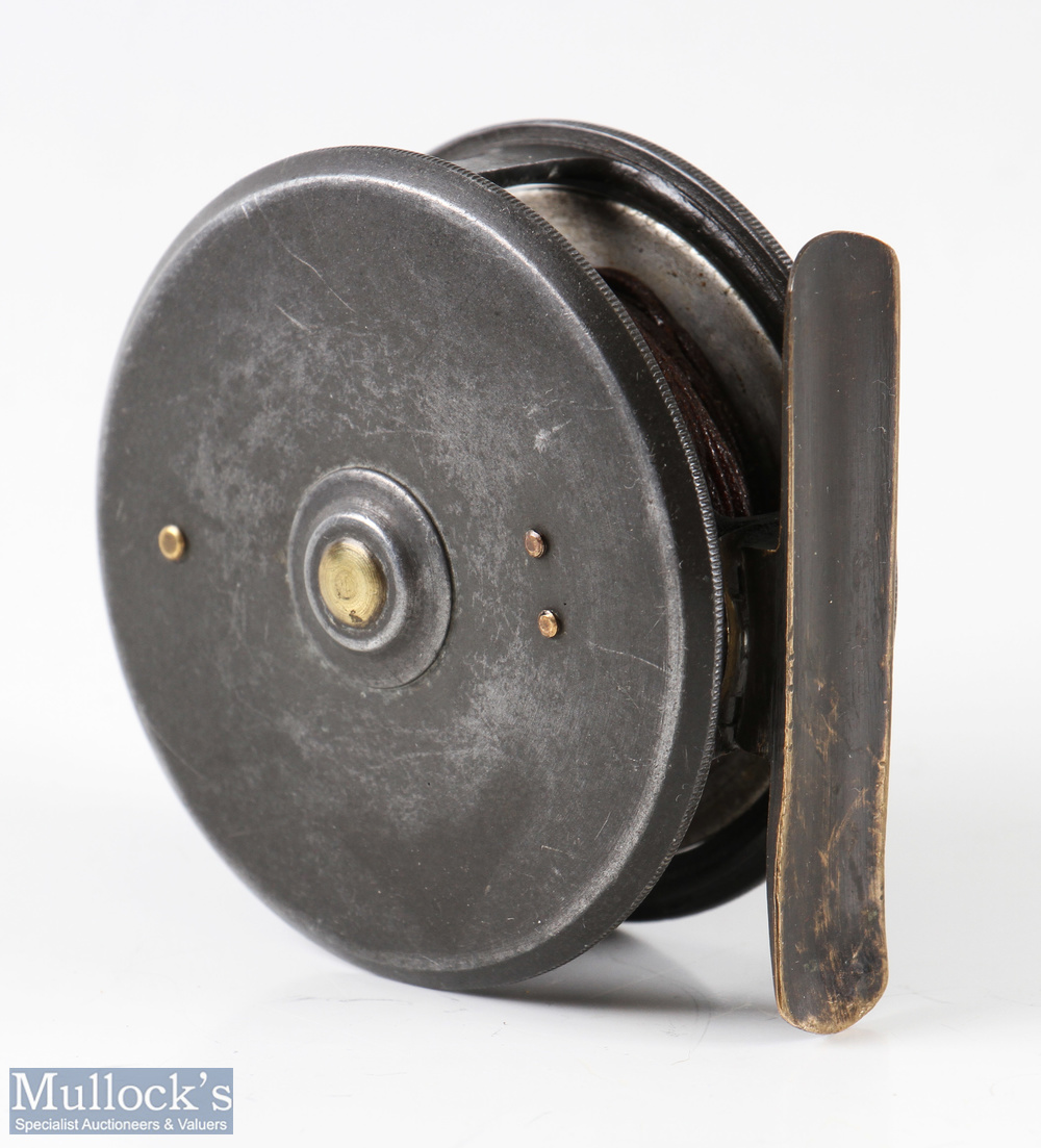 """H Moore of Liverpool 2 5/8"""" trout fly reel good constant check, smooth brass foot, slightly bent, - Image 2 of 2"""