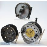 """2x Milwards Gyrex and a Young's Freedex reels (3)– to incl Gyrex 4"""" alloy Silex type casting reel,"""