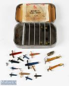 Wheatley Alloy Tackle Tin with Spinners incl 2x Hardy marked examples and 12 other minnows,