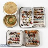 """Wheatley Alloy fly cases/boxes and flies including a 4 ¼"""" square Wheatley combined fly and cast box,"""