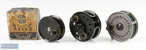 """J W Young & Sons fly reel selection (3) to include 4"""" Landex wide drum with wire line guide, twin"""