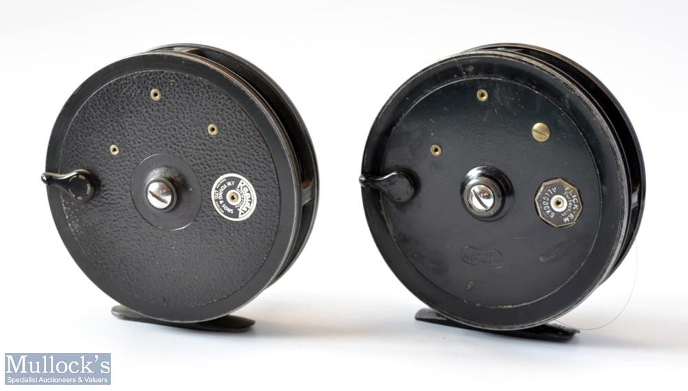 "2x Good 4"" x centre pin trotting reels – Allcocks Flick-Em black alloy reel , 2x screw drum - Image 2 of 2"