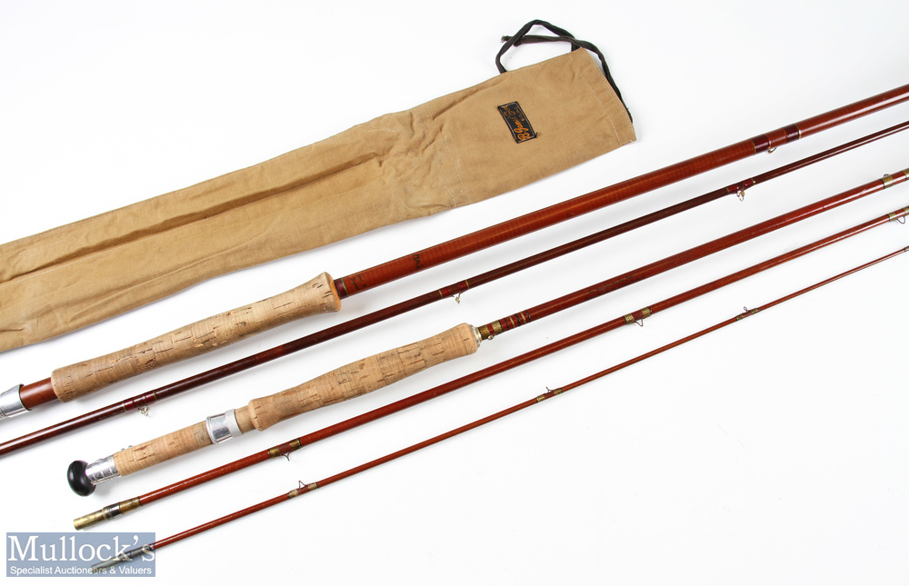 B James & Son 9ft 6in glass fibre fly rod 2pc in mcb together with an Ogden Smith Avalon 7ft 6in