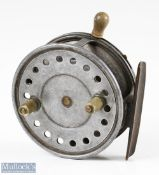 """Wallace Watson Patent 4"""" alloy casting reel with smooth brass foot, maker's details backplate Patent"""