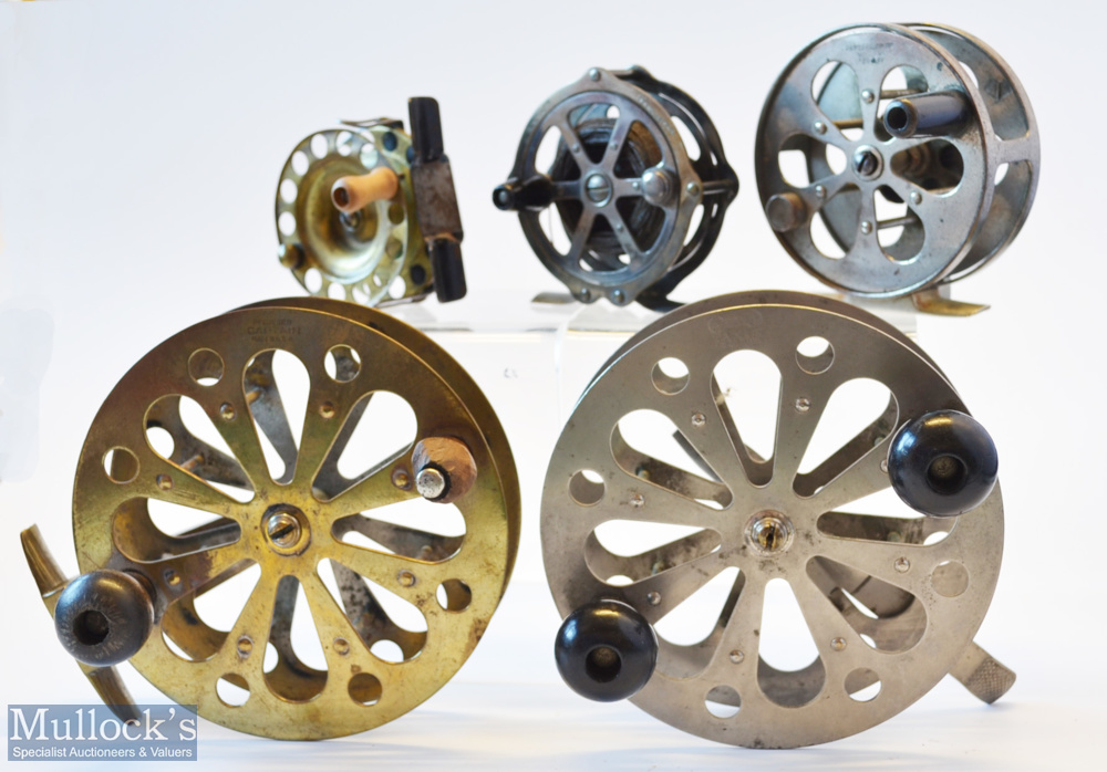 """Collection of early American Skeleton Style Pillared Drum Core Centre Pin Reels (5) – Pflueger """""""