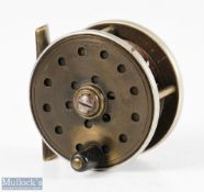 """Jardine Heatons Patent 2 ½"""" ebonite and brass fly reel with ventilated face, rear and spool,"""