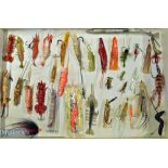 Collection of various artificial baits to incl prawns, squid, sand eel, and flies et al – incl an