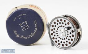 """Hardy Bros England LRH Lightweight 3 1/8"""" alloy fly reel with smooth alloy foot, with line guide,"""