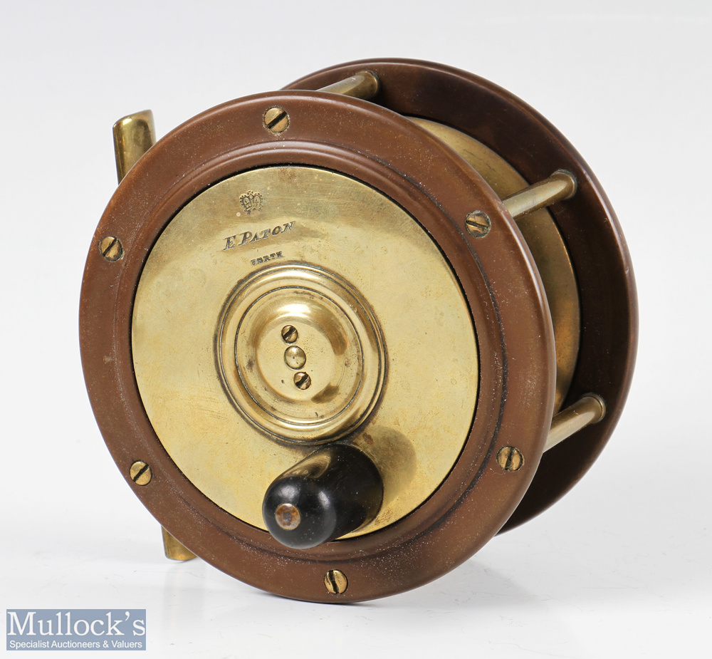 """E Paton Perth 4 ¼"""" brass and ebonite salmon fly reel with black handle, smooth foot, strong check,"""