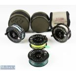 "2x Okuma Integrity I 10/11 black 4 ¼"" Salmon fly reels and spools fully ventilated, with capstan"