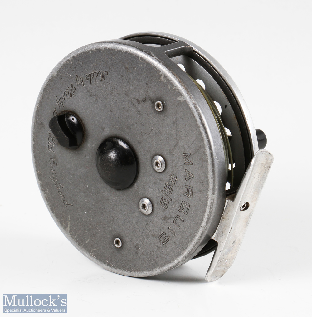 Hardy Bros England Marquis #8/9 multiplier alloy fly reel with spare spools u line guide, signs of - Image 3 of 3