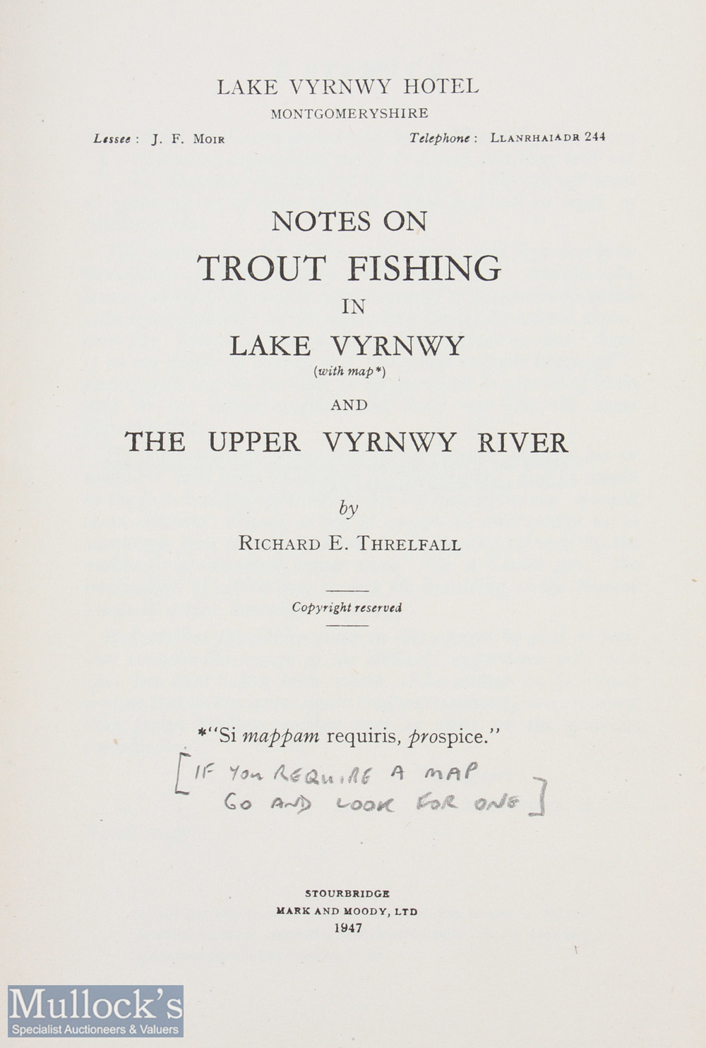 """Threlfall, Richard E – """"Notes on Trout Fishing in Lake Vyrnwy and The Upper Vyrnwy River"""" limited to - Image 2 of 2"""
