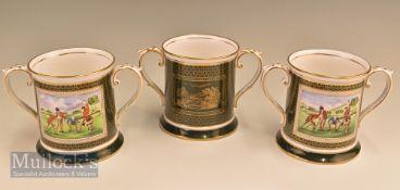 3x Spode Ceramic Antique Golfing Scene Twin Handled Tankards each having golfing scene taken from an