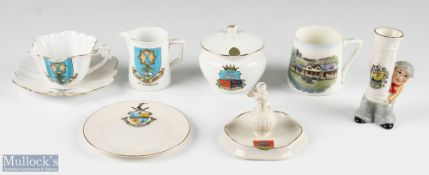 Golfing Crested Ware Ceramic Selection cup, saucer and jug with St Andrews crest manufactured for