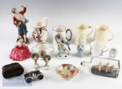 Quantity of Mixed Ceramics incl Royal Doulton Polly Peachum HN549 figure (crack to body) small