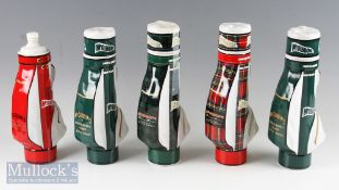 5x McGibbons Premium Reserve Scotch Whisky Golf Bag Bottles all empty incl tartan, 2x green, green