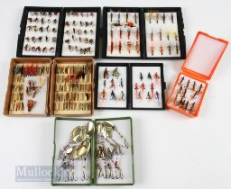 5x Fly Boxes with 120+ Salmon Flies with double and treble hooks, one box hinge a/f, with another