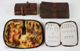 4x Leather Fly & Cast Wallets with Flies and Hooks one having approx. 40 mixed salmon and trout