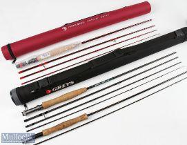 "3x Carbon Fly Rods – Greys GS 9ft 4 piece, Hawk Ridge Colorado 8ft 6"" 4 piece line 5#, both in"