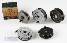"""Mixed Reel Selection (5) – JW Young and Sons 3 3/8"""" The Pridex in original box, and a similar 3 3/8"""""""