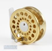 """Marryat Swiss Made CMR 34 2 5/8"""" Fly Reel with gold finish, in original sheepskin lined pouch,"""