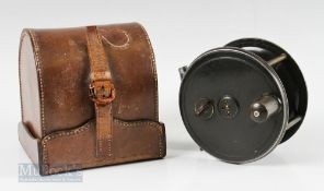 """Kelson C Farlow London Patent 1761 4 ½"""" Patent Lever Fly Reel and Block Case with brass pillars,"""