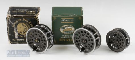"2x Shakespeare Beaulite Reels – 4 ¼"" salmon fly reel with rim tension adjuster in original box, 3 ½"""