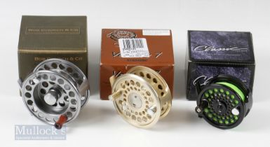 """G Loomis Venture 7 Gold 3 ½"""" Fly Reel with a White River Classic 5/6 medium 3"""" fly reel and a Bob"""