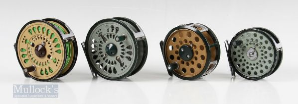 """3x Olympic Japan Fly Reels – 2x 4340 3 ¾"""" with rim tensioners, one in green the other in black /"""