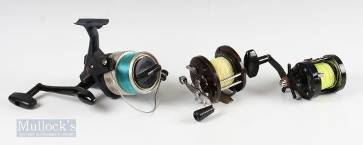 3x Mixed Fishing Reels – Okuma TPX80 large spinning reel, Newman 220-F multiplier reel and Penn, USA