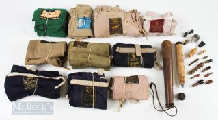 Collection of Mixed Cloth Rod Bags – incl 7x Hardy, Bruce and Walker, Edgar Sealey and FT