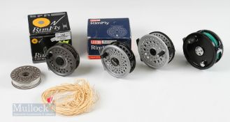 """4x Fly Reels – BFR Rimfly Cartridge 355 3 ¼"""" Reel and Spare Spool with original box and Leeda Rimfly"""